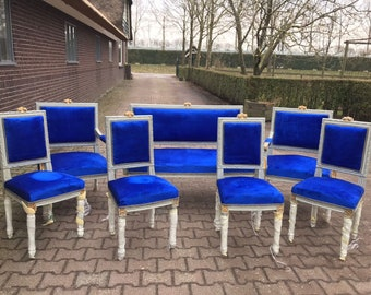 French Chair Louis XVI Settee 7 Piece Set Furniture Royal Blue Velvet French Settee French Chair Refinish New Padding Velvet Chair Fabric