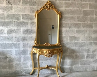 "French Console French Furniture Baroque Table 87""H x 36""W Rococo Console Marble Top Antique Mirror Gold Leaf Antique Furniture French Table"