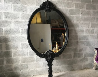 French Mirror Black Mirror 7.5 Feet Tall French Baroque Mirror Rococo Mirror Antique Mirror Black Antique Furniture French Interior Design