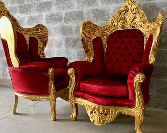 BaroqueThrone Furniture Chair Vintage Furniture *2 Left* Red Silk Tufted Upholstery French Chair Louis XVI French Furniture Antique Chair