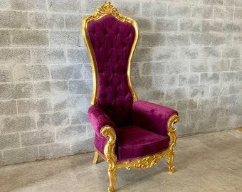 Purple Throne Chair Purple Velvet Chair 1 Available French Chair Throne Purple Velvet Chair Tufted Gold Throne Chair Rococo Interior Design