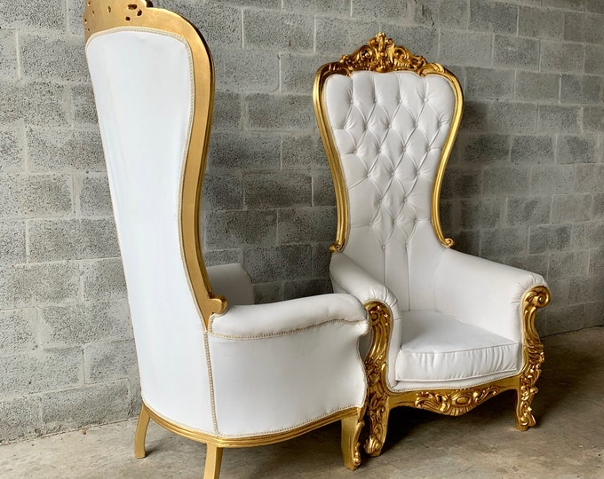 Featured listing image: White Throne Chair White Leather *2 LEFT* French Chair Throne Chair Tufted Gold Throne Chair Rococo Interior Design Furniture Vintage Chair