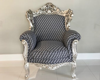 Italian Baroque Throne Chair Vintage Furniture New Upholstery FF Designer Fabric French Chair Silver Leaf Frame Baroque Furniture Rococo