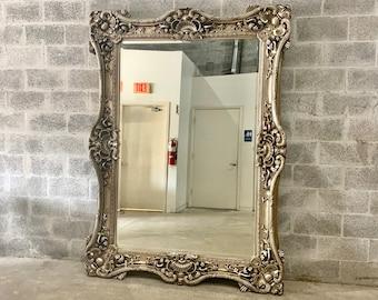 "French Mirror Silver Antique Leaf *Only 1 Left* Interior Design Baroque Mirror French Furniture 7.5""H x 5.5""W x 5.5""D Rococo Silver Mirror"