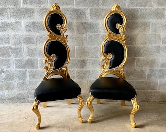 Italian Baroque Throne Chair *2 in Stock* High Back Reproduction Gold Black Leather Chair French Furniture French Chair Rococo Furniture