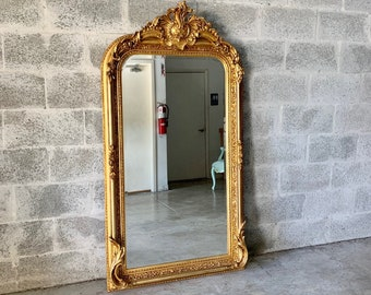 French Mirror French Baroque Mirror Rococo Mirror Antique Mirror 5 Feet Tall Gold Leaf Antique Furniture French Interior Design