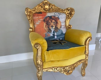 SOLD* Baroque Custom Chair #SkelArt *Signed by Artirst* Vintage Chair Gold Antique Furniture French Chair Lion Chair Interior Design