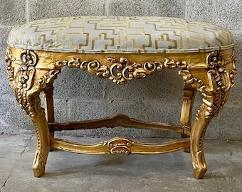 French Tufted Bench Vintage Chair Antique Chair Interior Design Rococo Furniture Baroque French Vintage Furniture