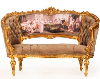 French Tufted Marquise Tufted Settee Vintage Furniture Antique Baroque Furniture Rococo Interior Design Vintage Settee French