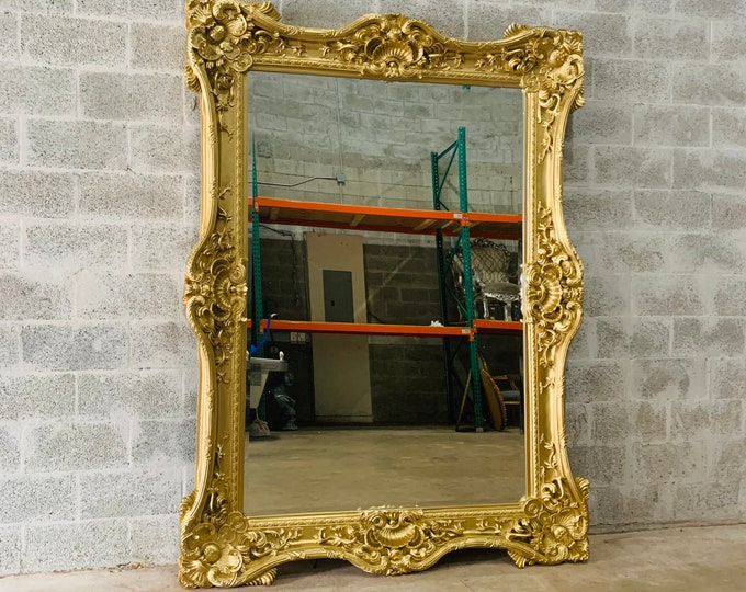 "Featured listing image: French Mirror Gold *1 Left in Stock* Interior Design Baroque Mirror French Furniture 7.5'H x 5.5'W x 5.5""D Heavy Mirror Rococo Gold Mirror"