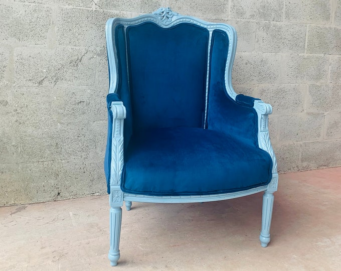 Featured listing image: Vintage Chair French Light Blue Matte Custom Frame Royal Blue Plush Velvet Upholstery Interior Design Vintage Furniture Rococo Chair Baroque