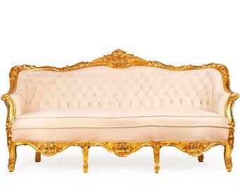 French Tufted Sofa Off White Velvet French Sofa Tufted Settee Vintage Furniture Antique Baroque Rococo Interior Design Vintage Sofa