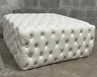 Chesterfield Footstool *1 in Stock* White Leather Tufted fabric Crystal Buttons Coffee Table Vintage Furniture French Bench Vintage Chair