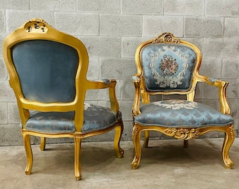 French Chair Tufted Chair *2 Chairs Available* French Chair Vintage Chair Vintage Furniture Chair Tufted Gold Frame Rococo Interior Design
