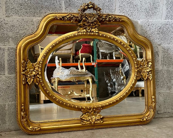 Featured listing image: French Mirror *1 Available* Square Baroque Mirror Rococo Antique Mirror Gold Leaf Furniture Interior Design Furniture Vintage Mirror