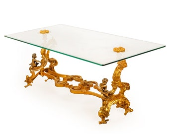 French Table French Coffee Table Baroque Furniture Rococo Table French Furniture Brass Base