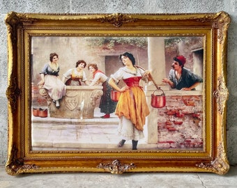 French Painting Print (Print on Silk Fabric) French Art Baroque Rococo Frame Interior Design French Decor *In Stock*