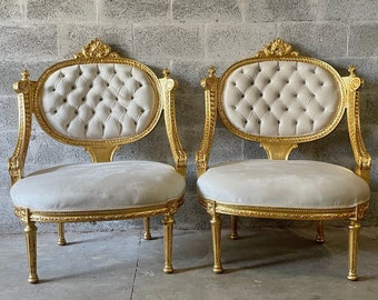 French Tufted Chair French Settee *3 Piece Set Available* Tufted Settee Vintage Furniture Antique Baroque Furniture Rococo Interior Design