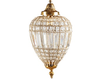 """French Chandelier Vintage 17""""H x 10""""W Vintage Furniture FULLY Rewired for USA (2 Available) Antique Chandelier"""