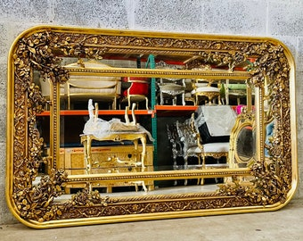 "French Mirror 1 Available 62"" Width Rectangular Baroque Mirror Rococo Antique Mirror Gold Furniture Interior Design Furniture Vintage Mirror"