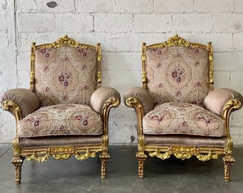 French Chair Vintage Chair *3 Piece Set Available* French Bergere Chair Vintage Settee Furniture Chair Chair Frame Rococo Interior Design