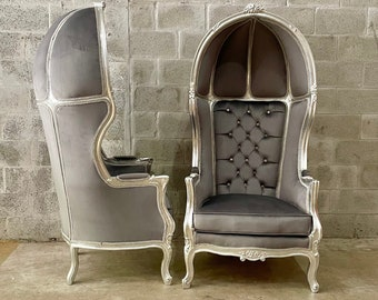 French Balloon Chair Tufted Chair Throne Chair *2 chairs left* Canopy Chair Silver Tufted French Vintage Chair Furniture