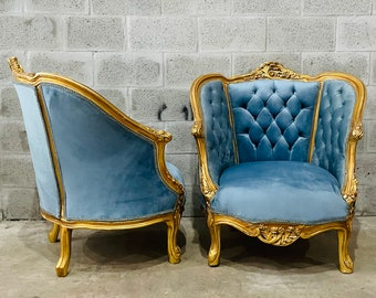 French Tufted Chair *3 Piece Available French Settee Tufted Vintage Furniture Antique Baroque Furniture Rococo Interior Design Vintage Chair