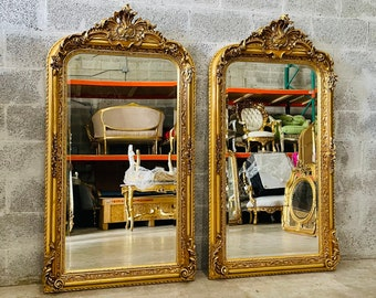 French Mirror Vintage French Baroque Mirror Rococo Mirror Antique Mirror 5 Feet Tall Gold Leaf Antique Furniture Interior Design