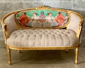 French Settee French Marquise Louis XVI French Corbeille Furniture Velvet Tufted Sofa French Interior Design Baroque Furniture Rococo