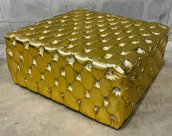 Chesterfield Footstool *1 in Stock* Gold Leather Tufted fabric Crystal Buttons Coffee Table Vintage Furniture French Bench Vintage Chair