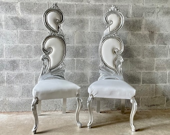 French Chair Vintage French Silver Chair White Leather Furniture Interior Designer *2 Available* Baroque Furniture Rococo Vintage French