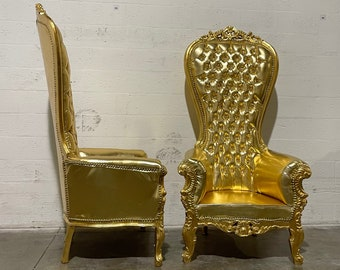 Gold Throne Chair Gold Leather Chair *2 LEFT* French Chair Throne Gold Leather Chair Tufted Gold Throne Chair Rococo Vintage Chair