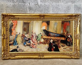 French Painting (Print on Leather Canvas) French Art Baroque Rococo Frame Interior Design French Decor