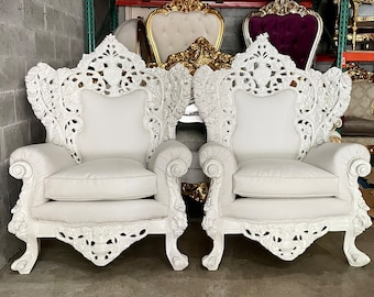 Baroque Throne Chair White Leather *2 Piece Available* French Vintage Furniture Antique Furniture Rococo Interior Design Vintage Chair