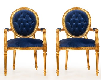 French Tufted Chair Blue Velvet French Bench (3 Pieces Available) Tufted Bench Vintage Furniture Antique Baroque Rococo Interior Design