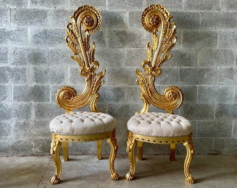"""Italian Baroque Throne Chair High Back 65"""" Tall French Tufted Chair Rococo Furniture Vintage Chair Interior Design Vintage Furniture"""