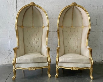 French Balloon Chair Ivory Throne Chair *2 Available* High-Back French Canopy Gold Leaf Chair Cream Velvet Interior Design