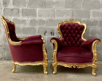 French Chair Tufted Chair Purple Velvet (2 Available) Chair French Tufted Chair Purple Velvet Chair Tufted Purple Gold Frame Rococo