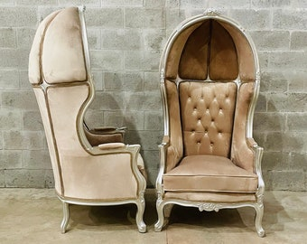 French Balloon Chair Throne Chair *1 LEFT Ready To Ship* High-Back French Canopy Silver Chair Champagne Velvet Interior Design