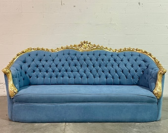French Tufted Sofa Light Blue Velvet French Sofa Tufted Settee Vintage Furniture Antique Baroque Rococo Interior Design Vintage Sofa