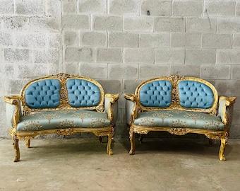 French Settee *Set of 2* Vintage Furniture Designer Damask Fabric Fully Baroque Furniture Rococo Interior Design Vintage Sofa Tufted Settee