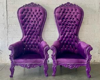Purple Throne Chair Purple Velvet Chair French Tufted Chair Throne Purple Chair Tufted Black Frame Throne Chair Rococo Interior Design