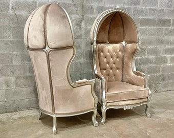 French Balloon Chair Throne Chair *2 Available* High-Back French Canopy Silver Chair Champagne Velvet Interior Design