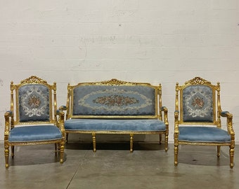French Vintage Chair *3 Piece Set* French Settee Vintage Furniture Antique Baroque Furniture Rococo Interior Design Vintage Chair
