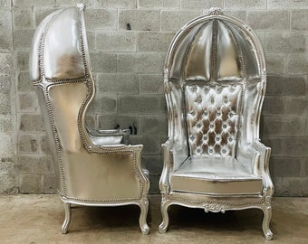 French Balloon Chair Throne Chair *2 Available* High-Back French Canopy Silver Chair Silver Leather Interior Design