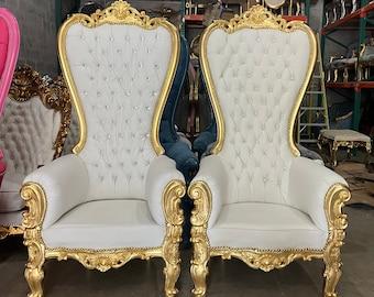 White Throne Chair White Leather Chair *2 LEFT* French Chair Throne White Leather Chair Tufted Gold Throne Chair Rococo Vintage Chair