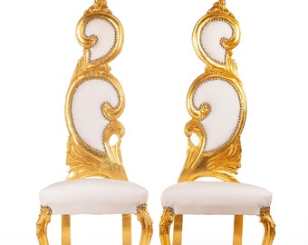 Italian Baroque Throne Chair *2 Available* High Back Reproduction White Leather Furniture French Chair Rococo Furniture Interior Design