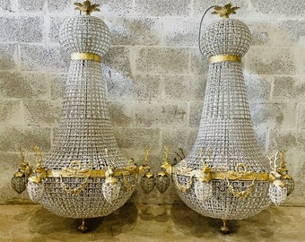 Pair of Deer Stag Chandelier *1 LEFT XX Extra Almost 5 Feet Tall Tall French Stag Deer Head JUMBO Basket Brass Empire Bowl Interior Design