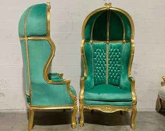 French Balloon Chair Throne Chair *2 Available* Green Velvet Canopy Chair Gold Chair Tufted French Interior Design