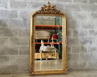 French Mirror French Baroque Mirror Rococo Mirror Antique Mirror 5 Feet Tall Gold Leaf Antique Furniture French Interior Design